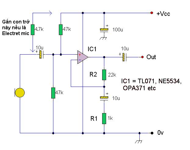 Làm mạch khuếch đại cho Micro(mic lấy từ điện thoại) - Điện tử Việt Nam